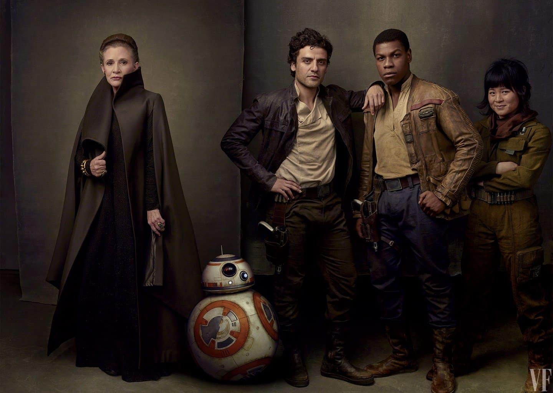 Princezná Leia, BB-8, Poe Dameron a Rose Tico