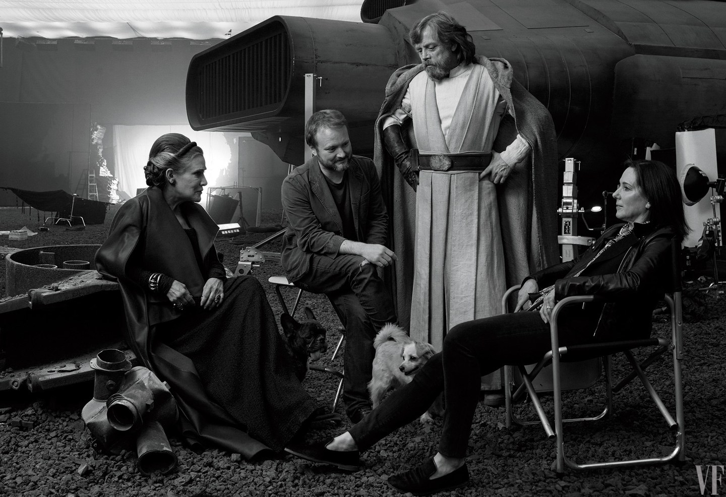 Carrie Fisher, režisér Rian Johnson, Mark Hamill a producentka Kathleen Kennedy