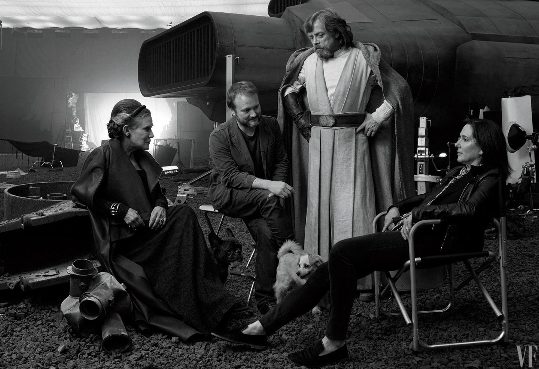Carrie Fisher, režisér Rian Johnson, Mark Hamill a producentka Kathleen Kennedy