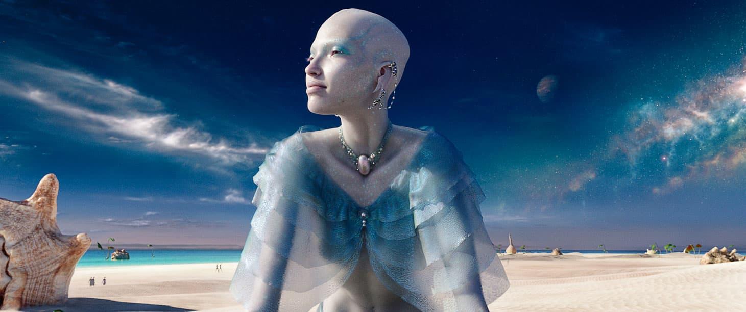 Herečka Sasha Luss vo filme Valerián a mesto tisícich planét