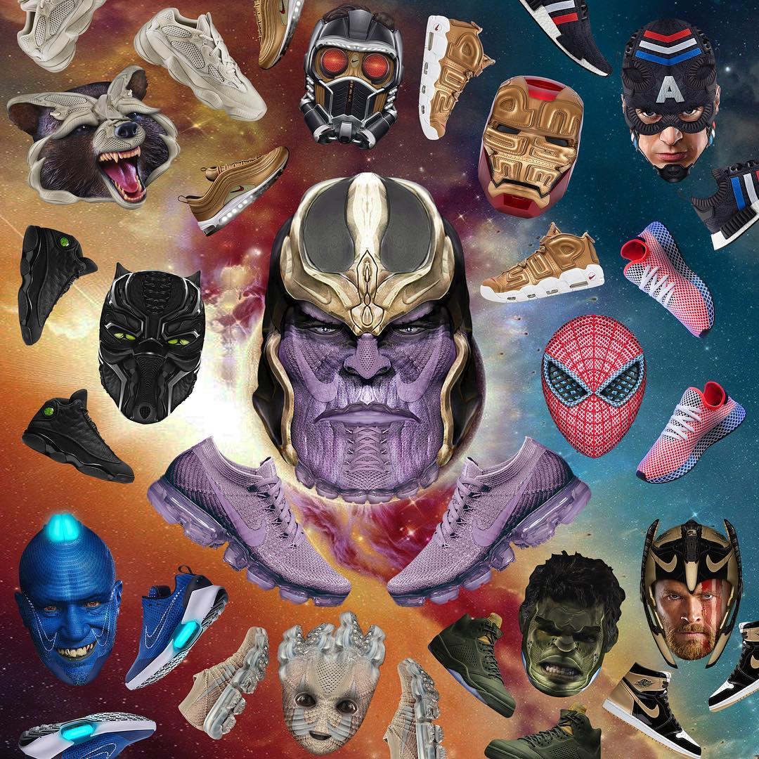 Nádherné siluety tenisiek premené na postavy z Avengers: Infinity War