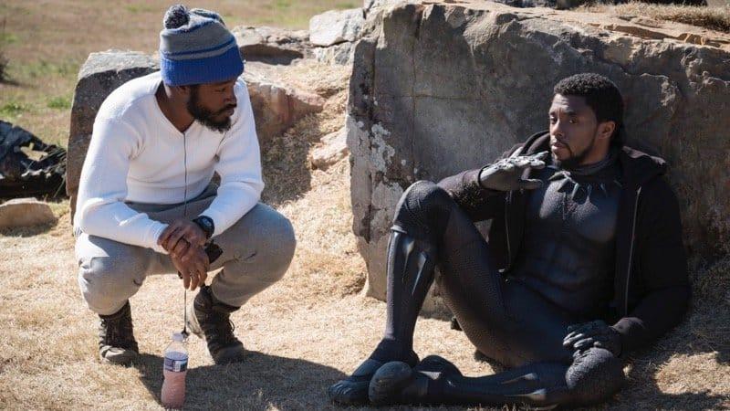 Režisér Ryan Coogler a herec Chadwick Boseman pri natáčaní filmu Black Panther