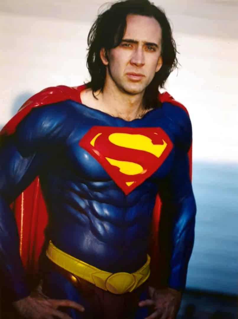 Kostýmová skúška Nicolasa Cagea ako Supermana v roku 1998