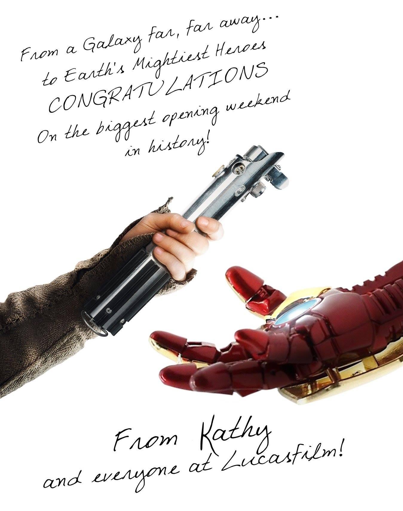 Plagát od štúdia Lucasfilm, ktorý gratuluje Infinity War, keď sa im podarilo poraziť ich stanovený rekord za najväčší otvárak v histórii
