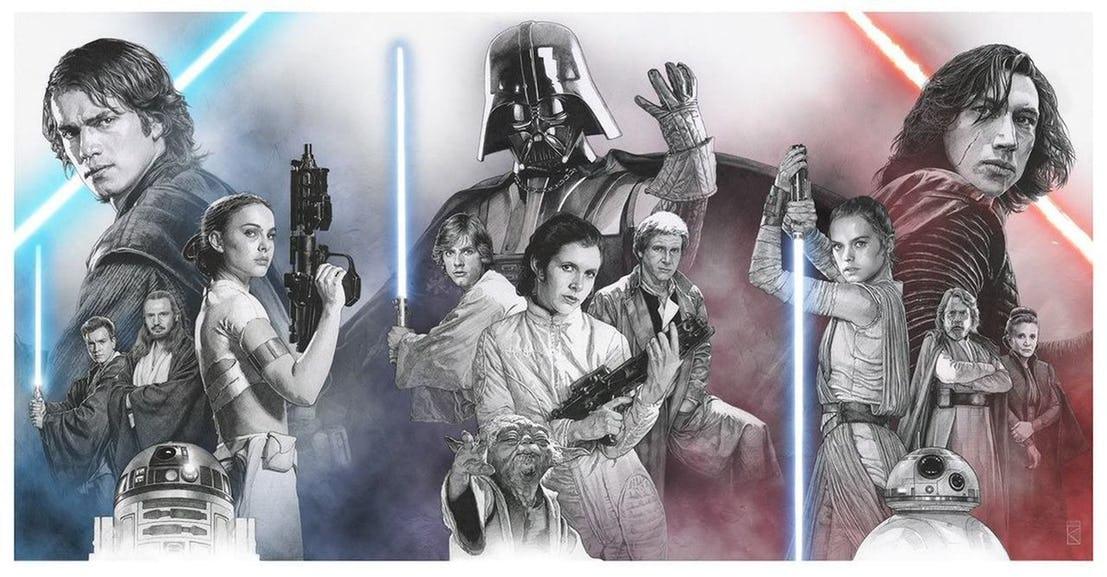 Vystavené plagáty všetkých troch Star Wars trilógií na tohtoročnom Comic-Cone!