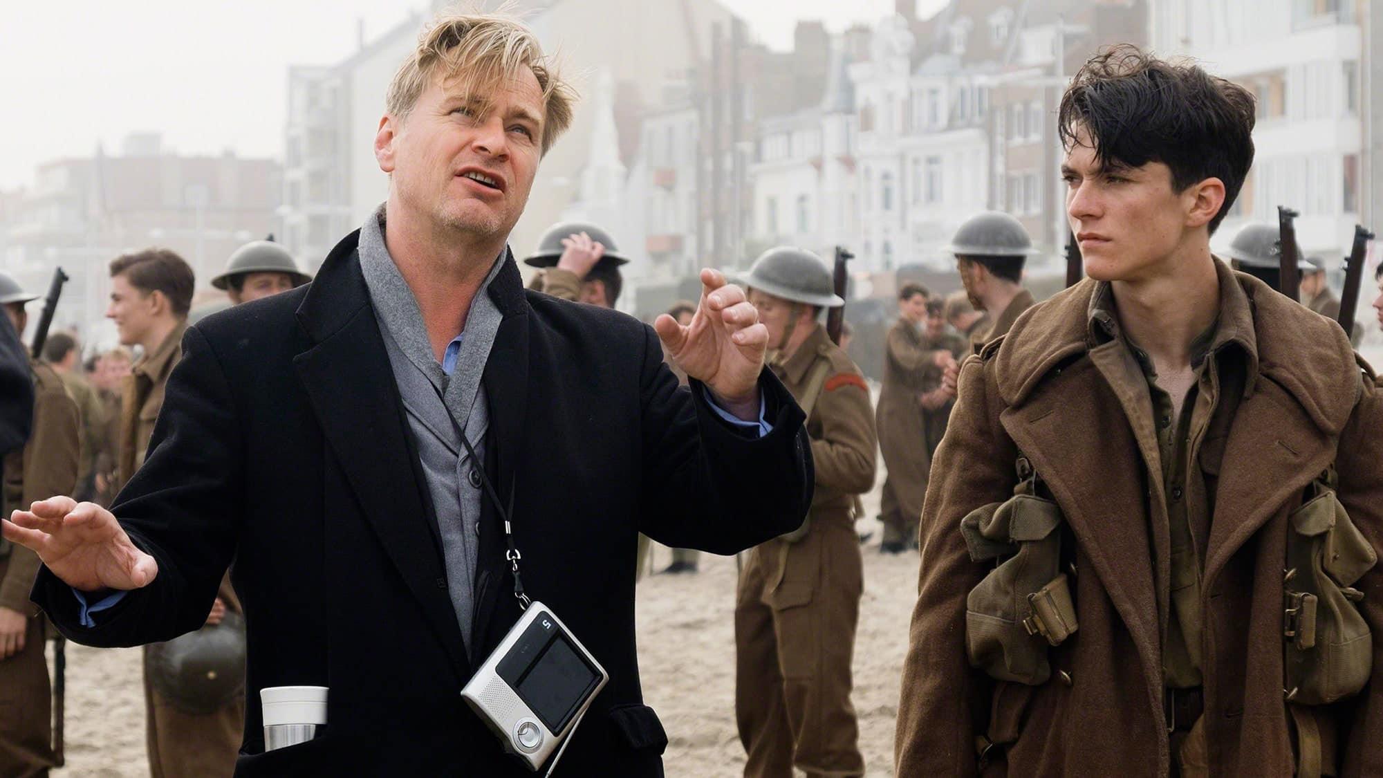 Nolan a Fion Whitehead pri natáčaní Dunkirku