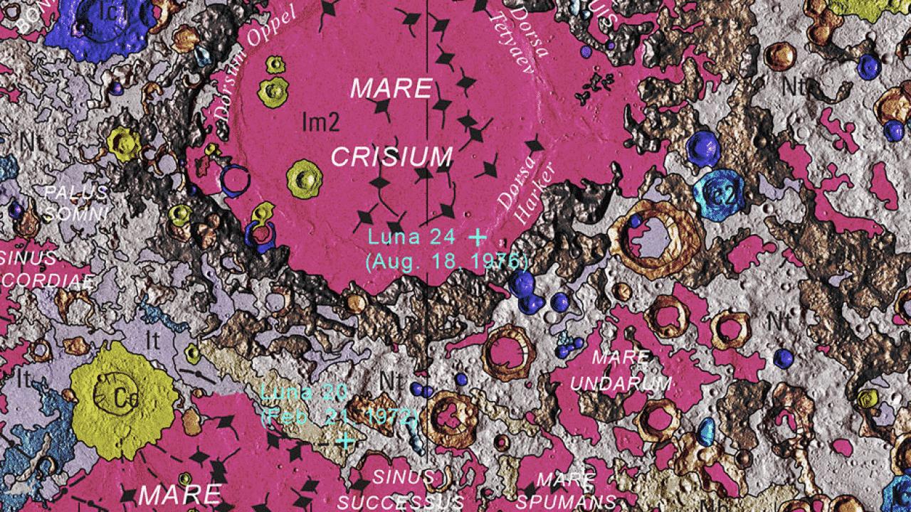 geologická mapa Mesiac