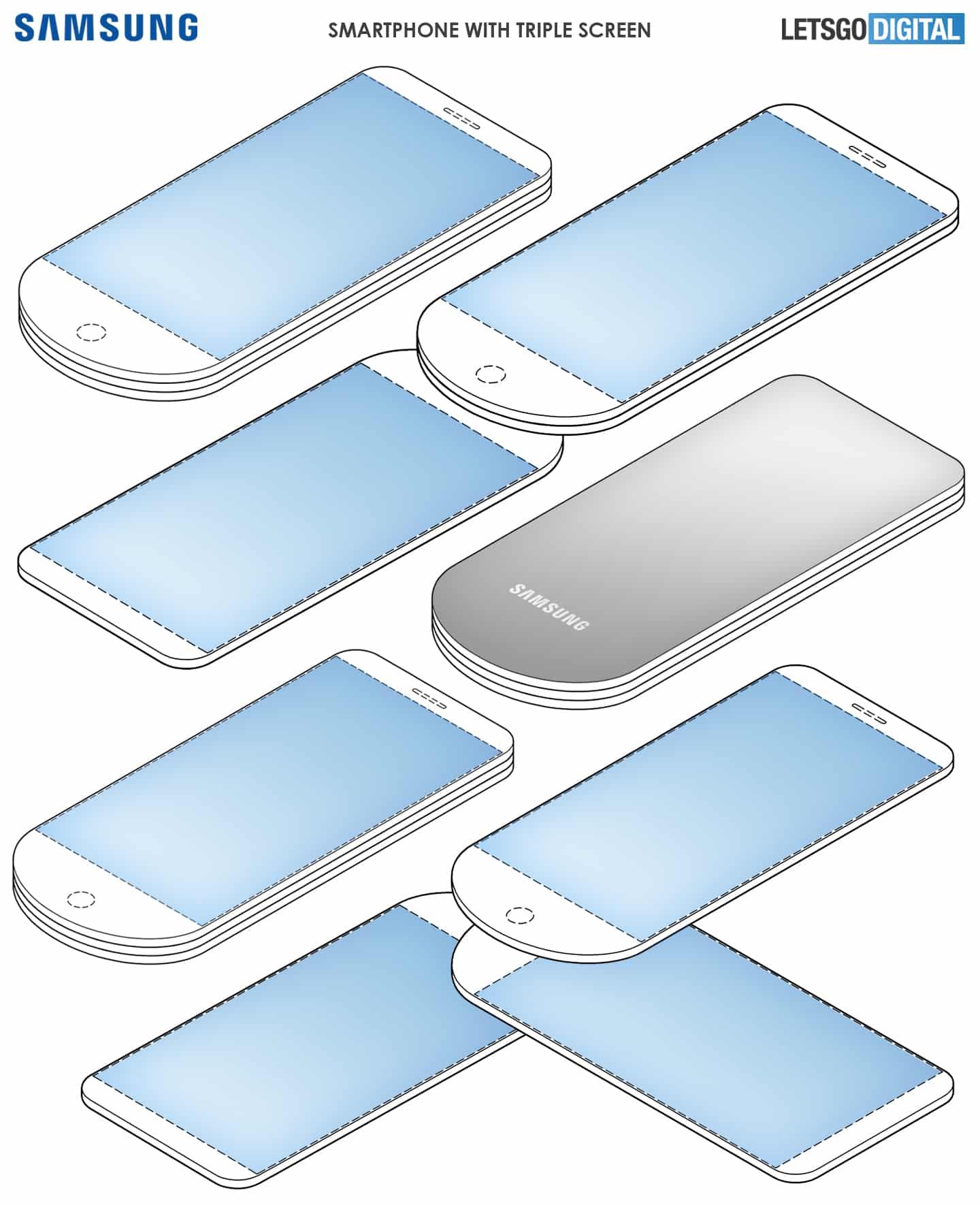 Smartfón s trojitým displejom samsung patent
