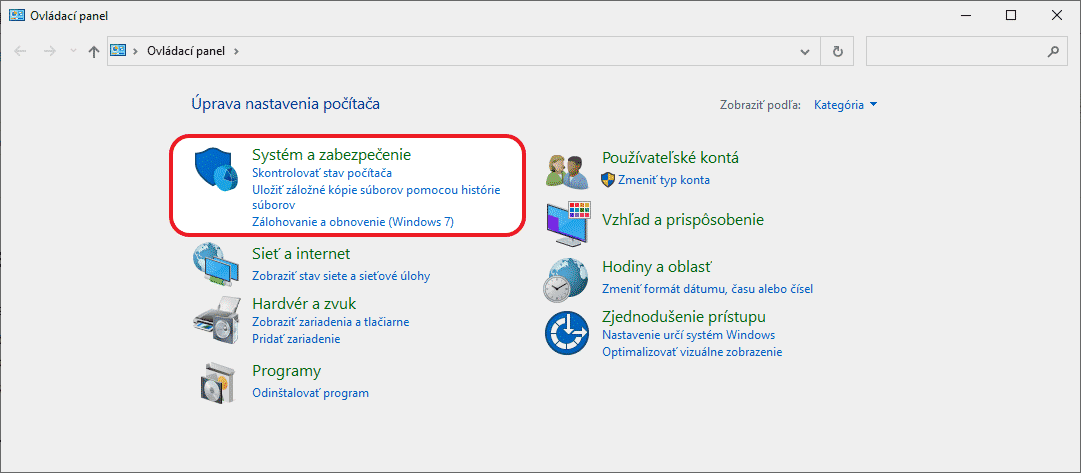 windows ovladaci panel