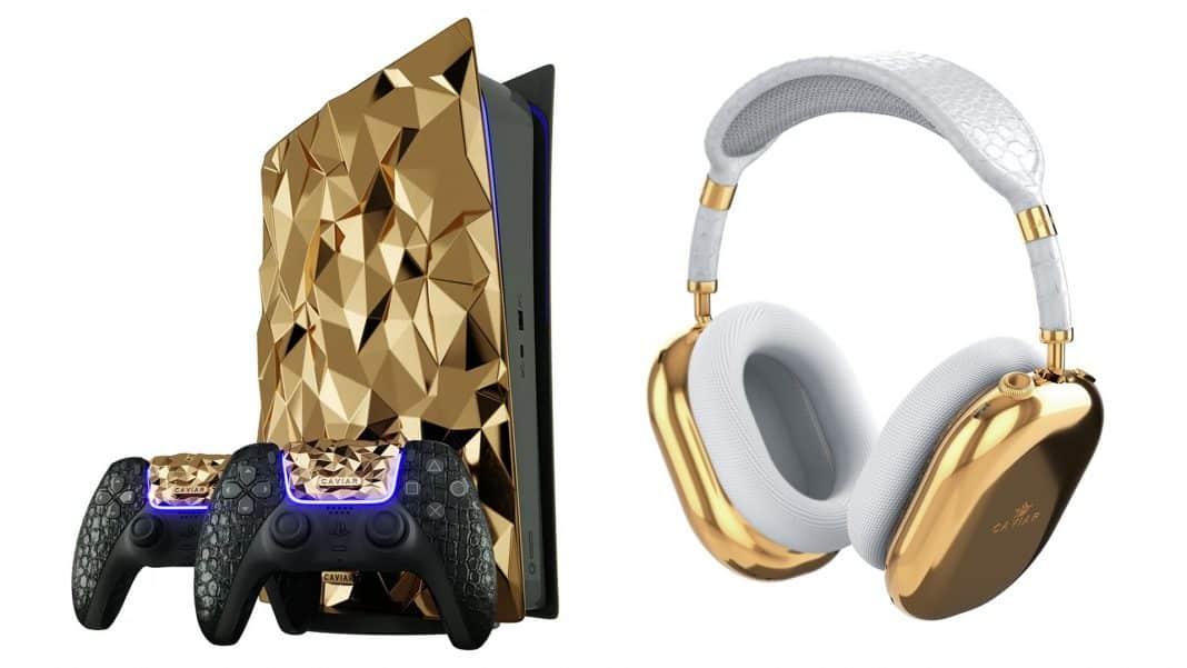 PlayStation 5 pokryté zlatom