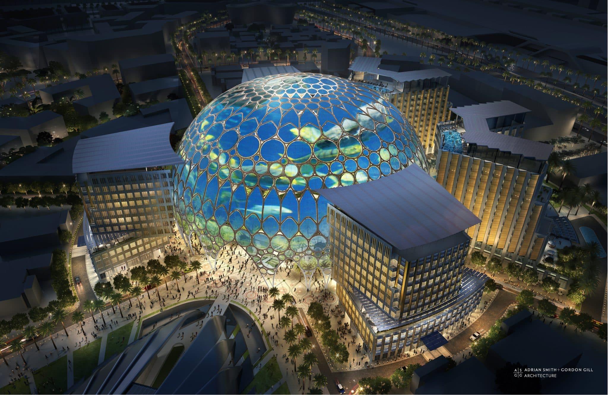 Al Wasl - kupola s najvacsiou sferickou projekciou na svete(noc)