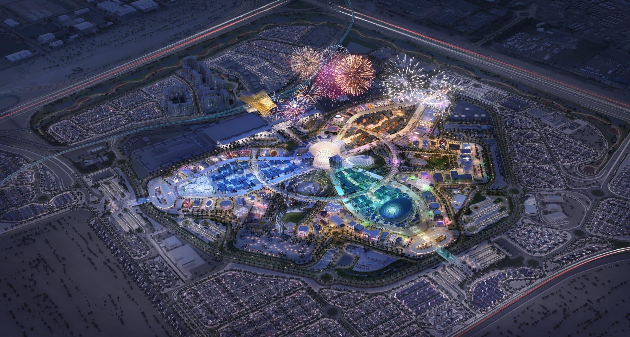 Areál EXPO Dubai 2020 (nočný pohľad)